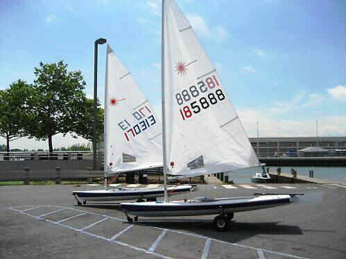Seitech Dollies with Twin Laser Sailboats
