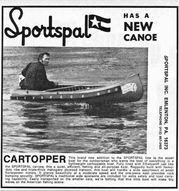 Sportspal Vinatage ad from 1974 - Cartopper Version - X-13