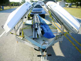 Multiple Sunfish and Laser Sailboat Trailer, carries 3 to 4 sailboats